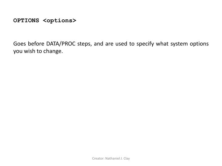 OPTIONS <options>