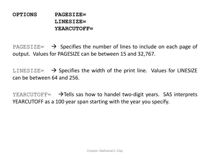 OPTIONS PAGESIZE=