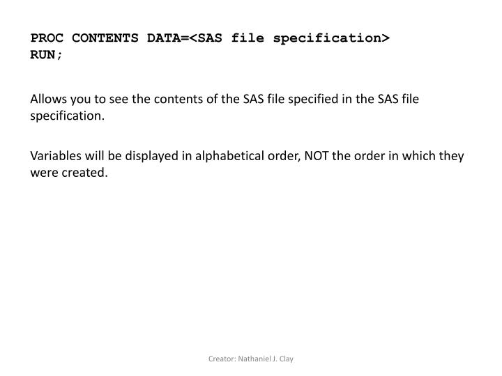 Proc contents data sas file specification run