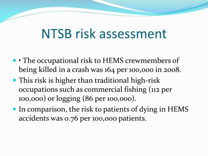 NTSB risk assessment