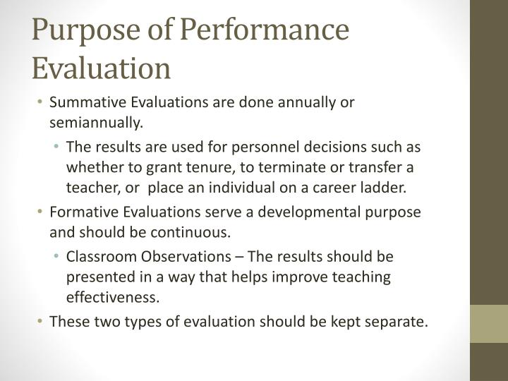 Purpose of performance evaluation