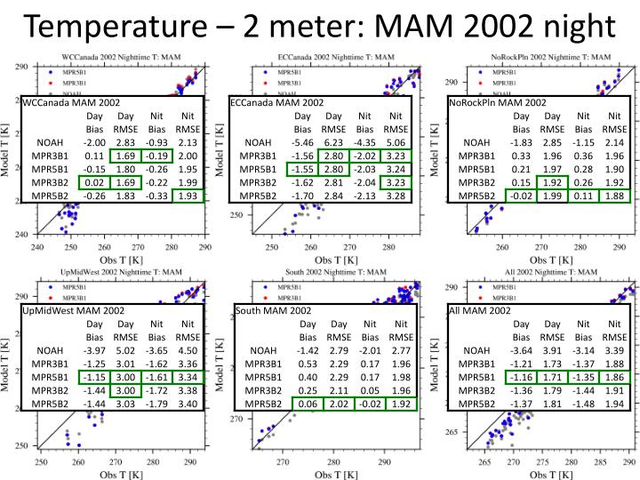 Temperature – 2 meter: MAM 2002 night