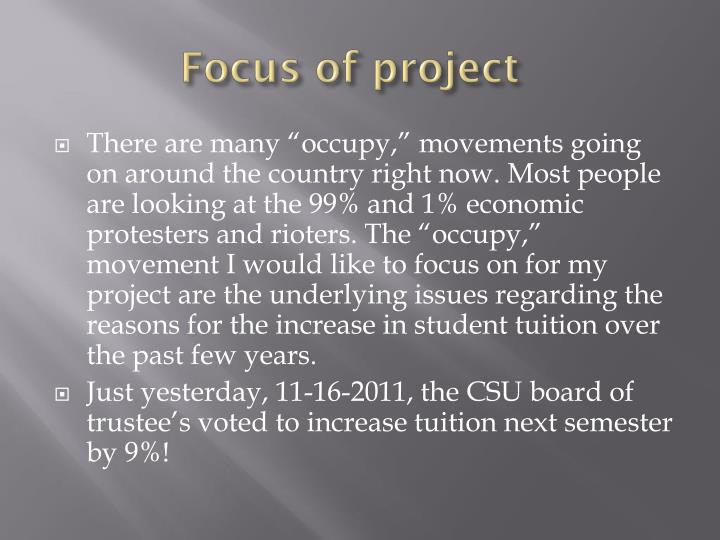 Focus of project
