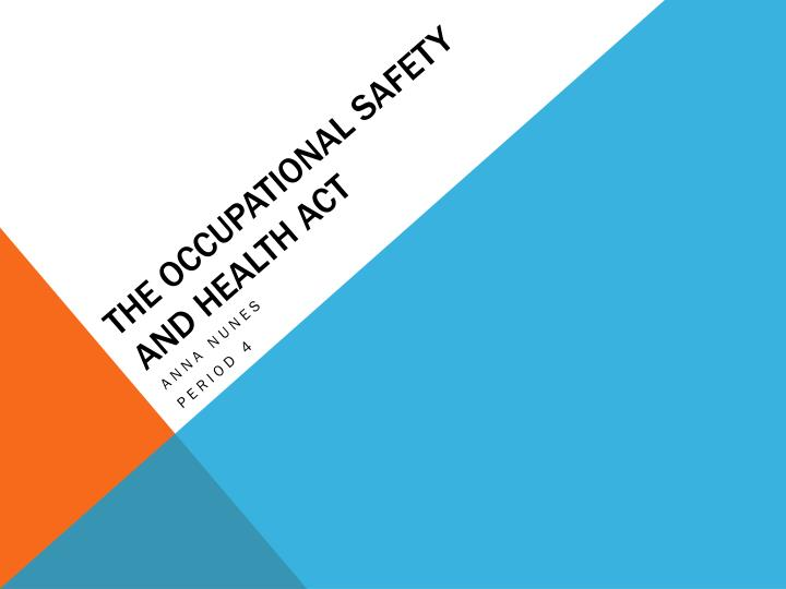 the occupational safety and health act n.