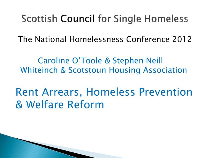 scottish council for single homeless n.