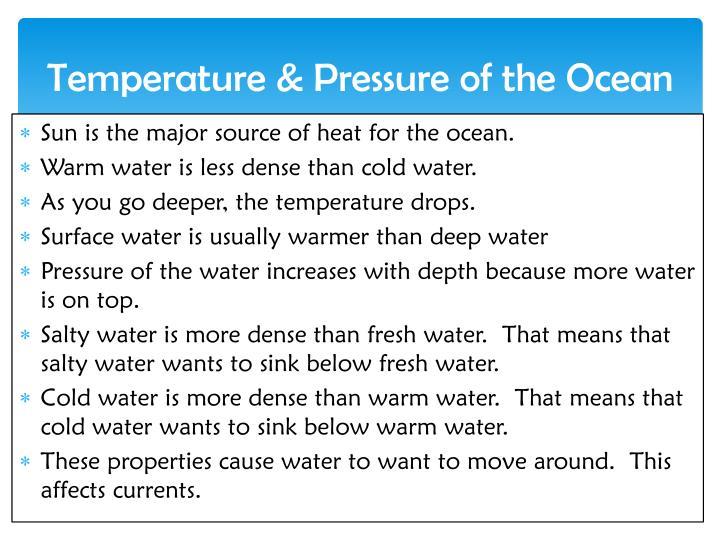 Temperature & Pressure of the Ocean
