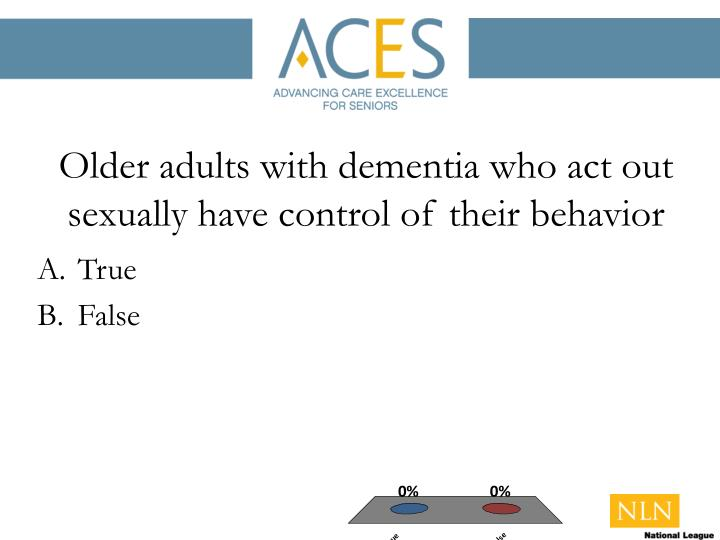 Older adults with dementia who act out sexually have control of their behavior