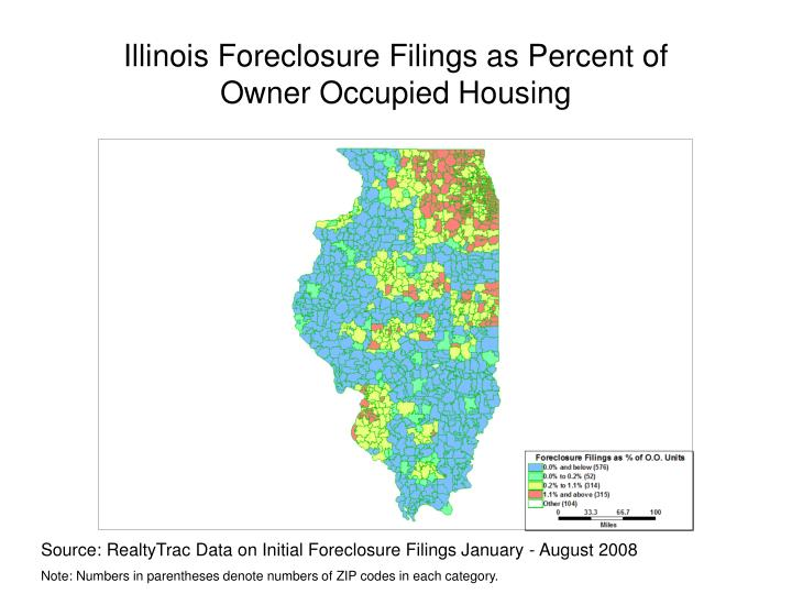 Illinois foreclosure filings as percent of owner occupied housing