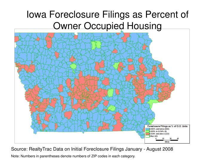 Iowa Foreclosure Filings as Percent of
