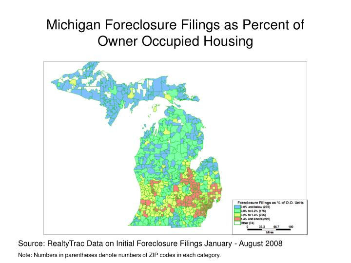 Michigan foreclosure filings as percent of owner occupied housing