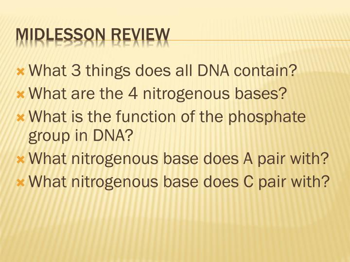 What 3 things does all DNA contain?