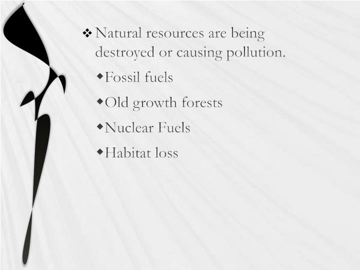 Natural resources are being destroyed or causing pollution.