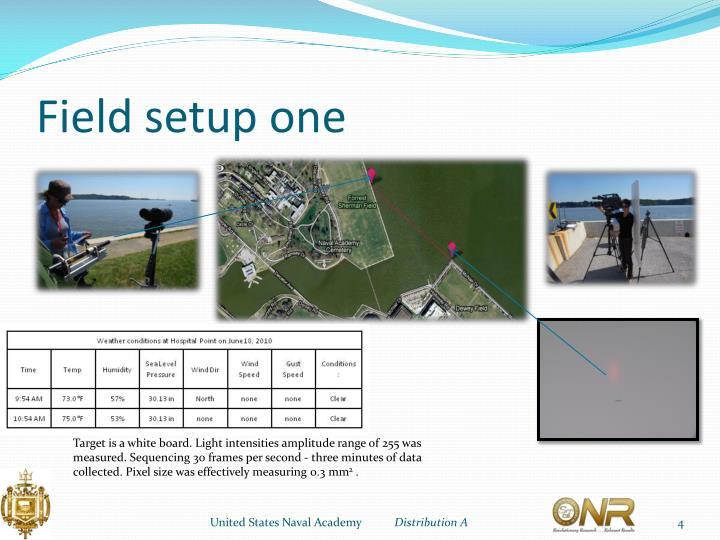 Field setup one