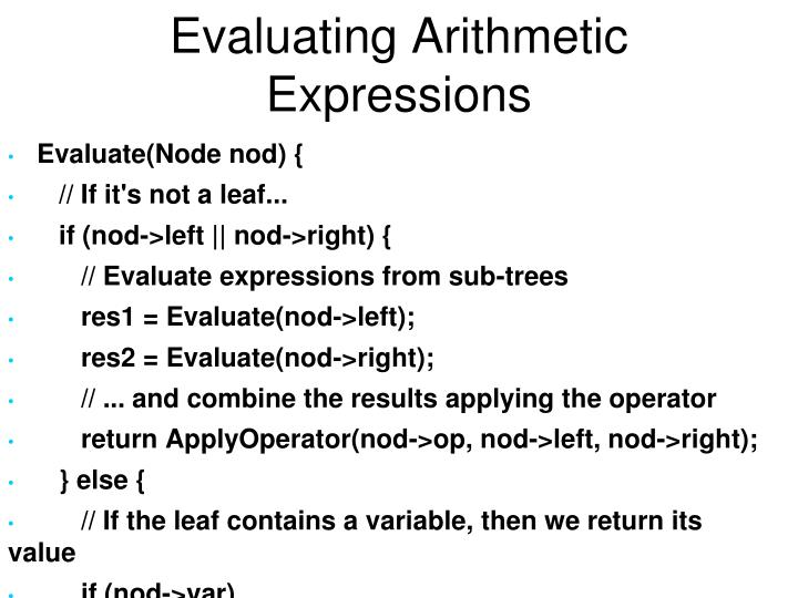Evaluating Arithmetic Expressions