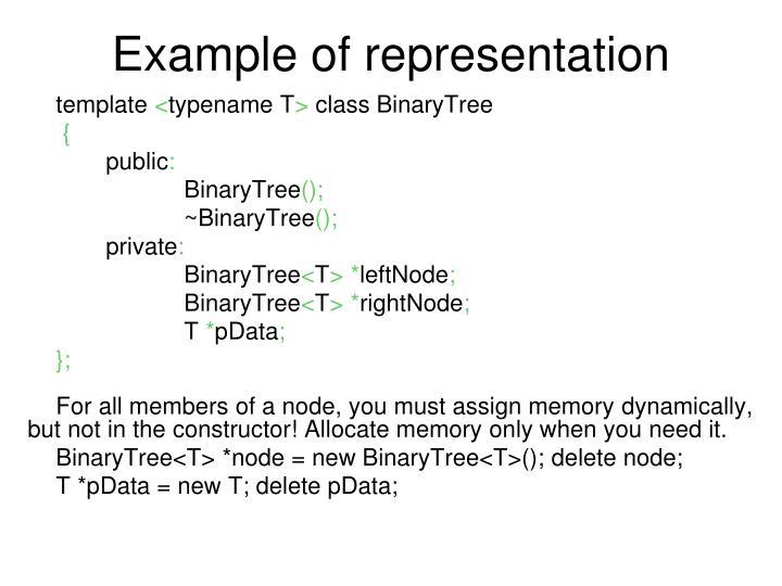 Example of representation