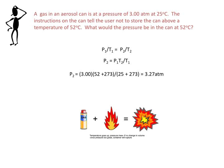 A  gas in an aerosol can is at a pressure of 3.00