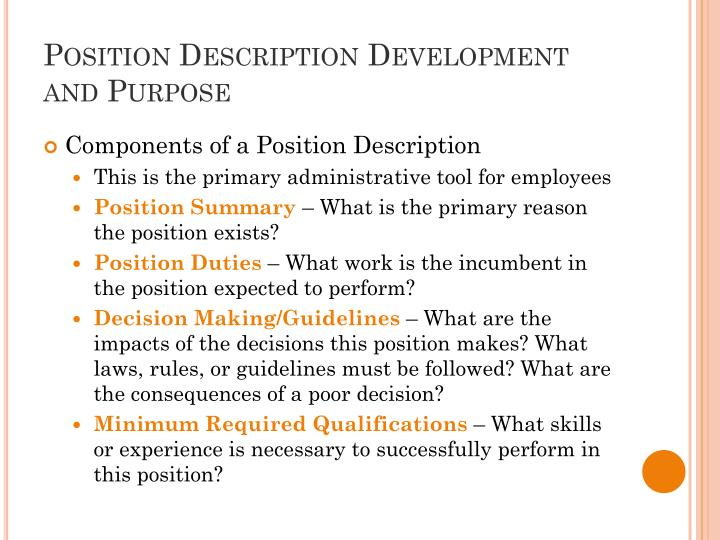 Position description development and purpose