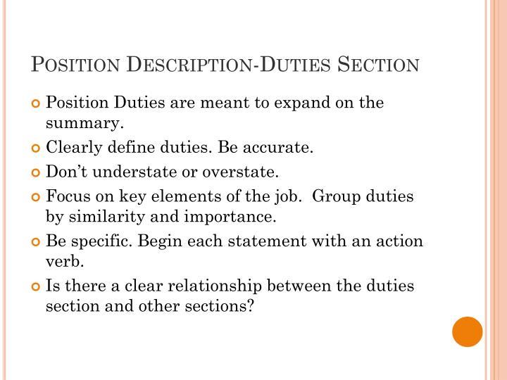 Position Description-Duties Section