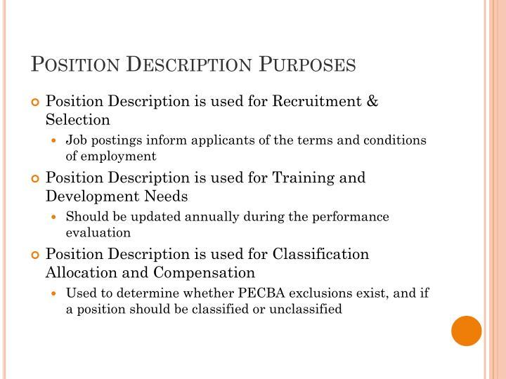 Position description purposes