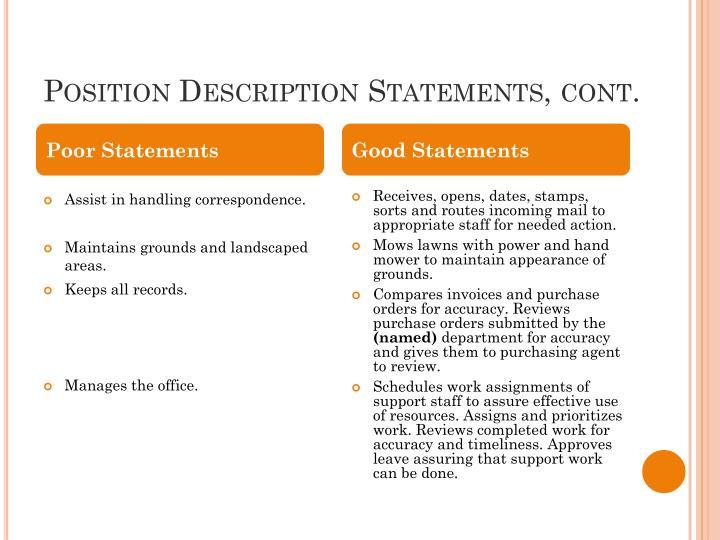 Position Description Statements, cont.
