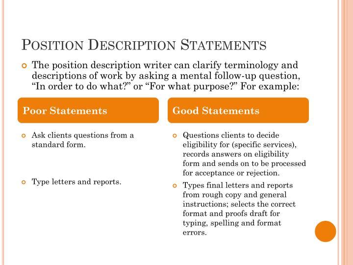 Position Description Statements