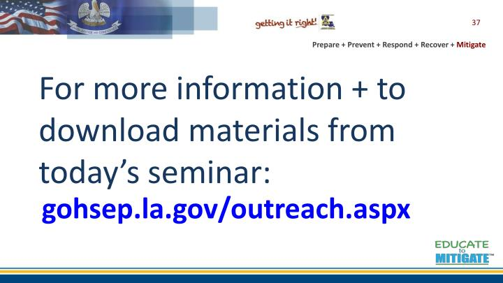 For more information + to download materials from today's seminar: