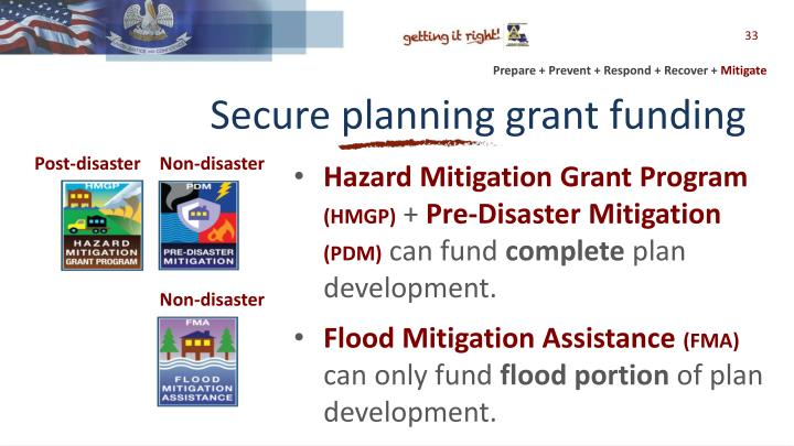 Secure planning grant funding