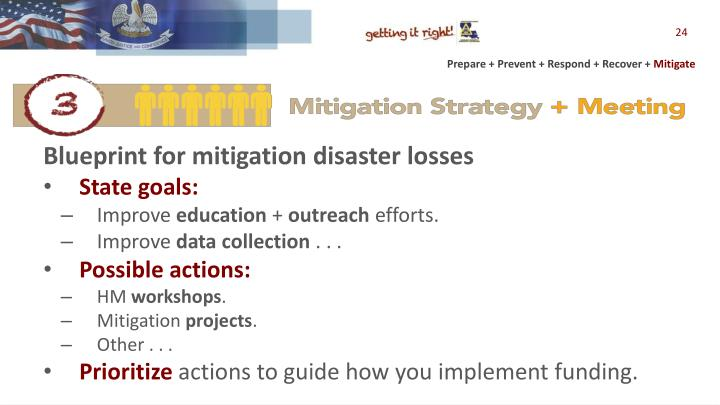 Blueprint for mitigation disaster losses