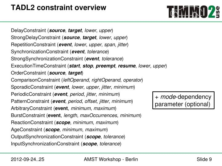 TADL2 constraint overview