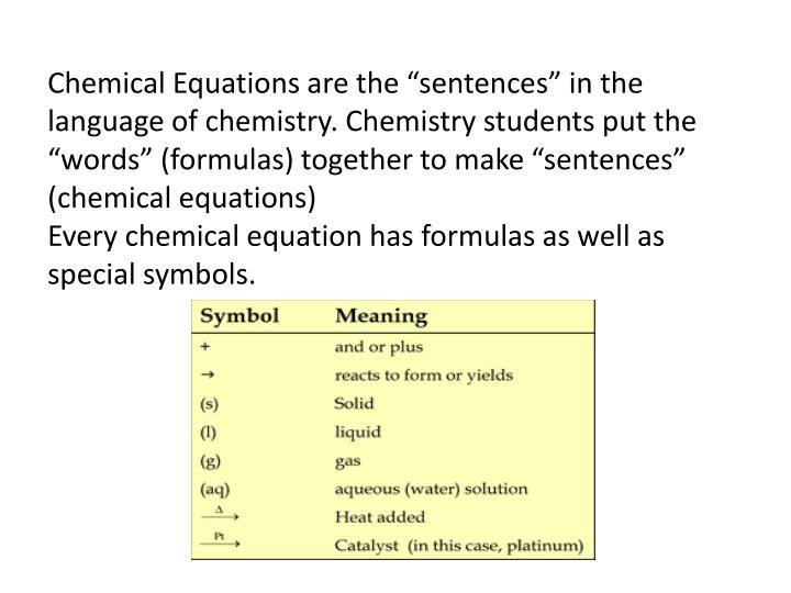 """Chemical Equations are the """"sentences"""" in the language of chemistry. Chemistry students put the """"words"""" (formulas) together to make """"sentences"""" (chemical equations)"""
