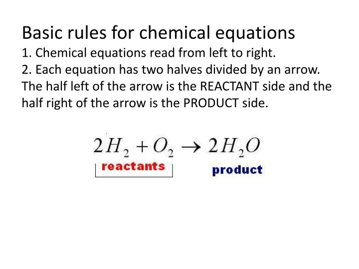 Basic rules for chemical equations