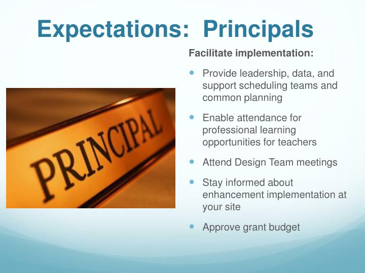 Expectations:  Principals