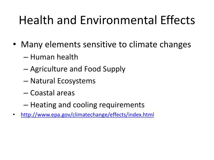 Health and Environmental Effects