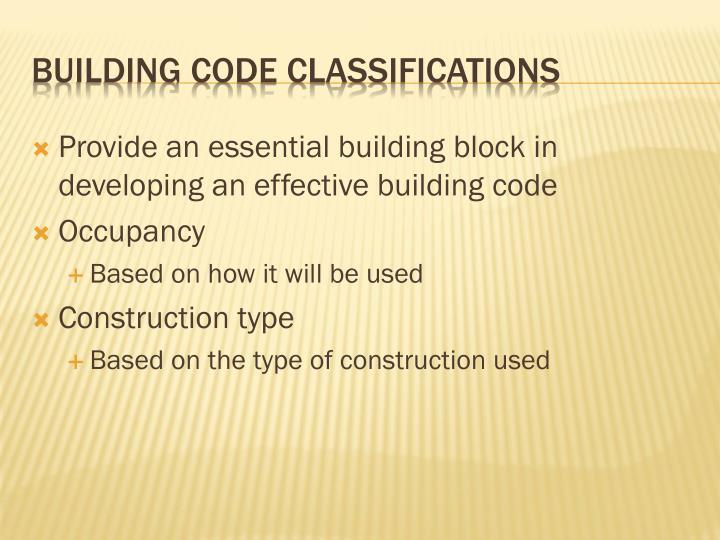 Building code classifications