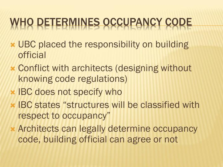 UBC placed the responsibility on building official