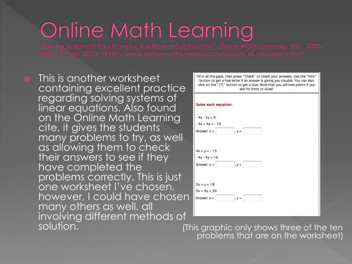 Online Math Learning