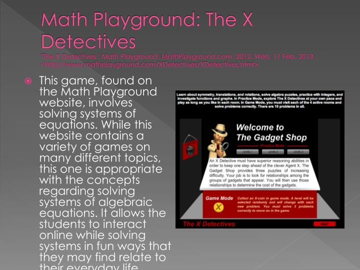 Math Playground: The X Detectives