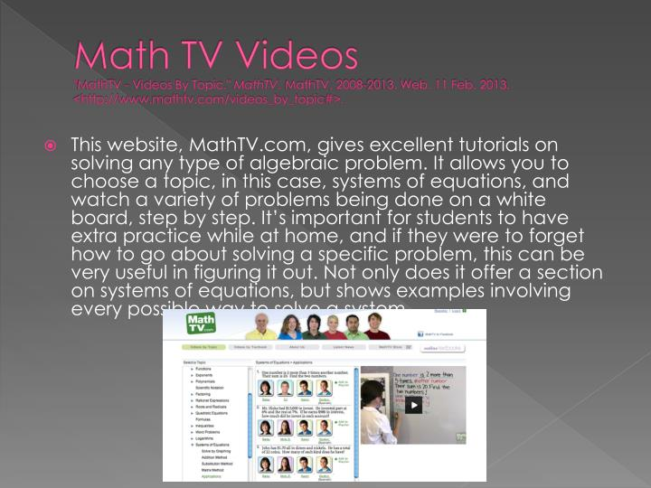 Math TV Videos