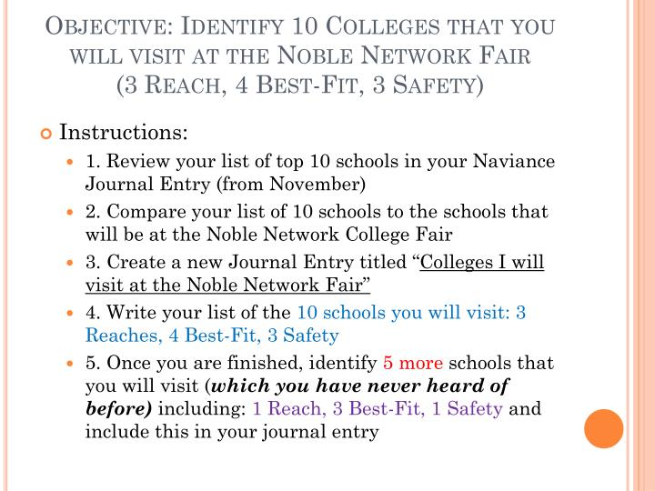 Objective: Identify 10 Colleges that you will visit at the Noble Network Fair