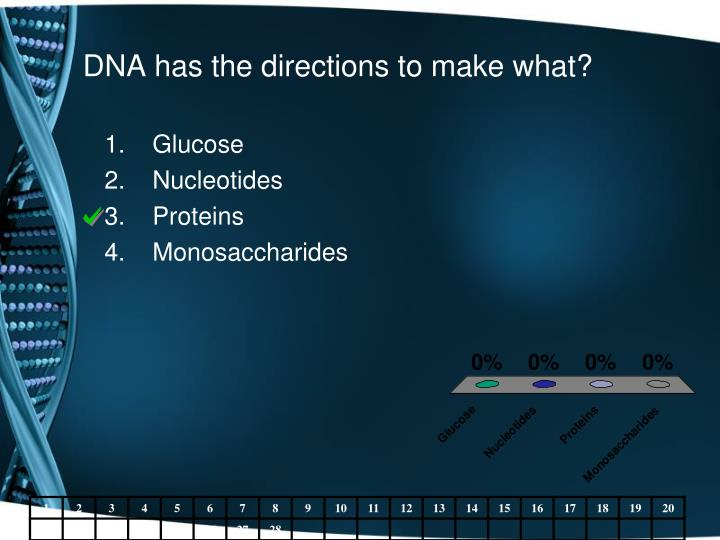DNA has the directions to make what?
