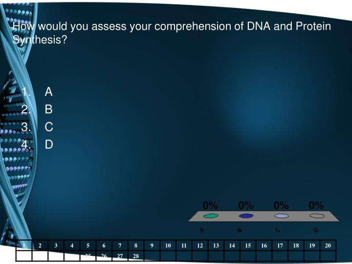 How would you assess your comprehension of DNA and Protein Synthesis?