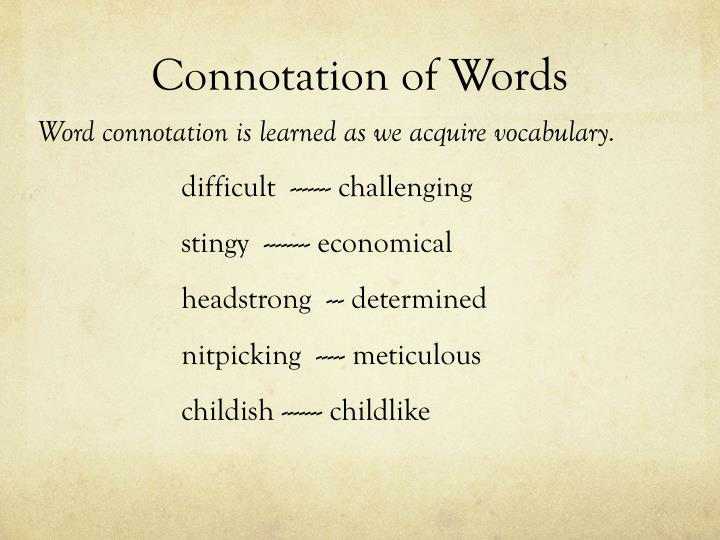 Connotation of Words