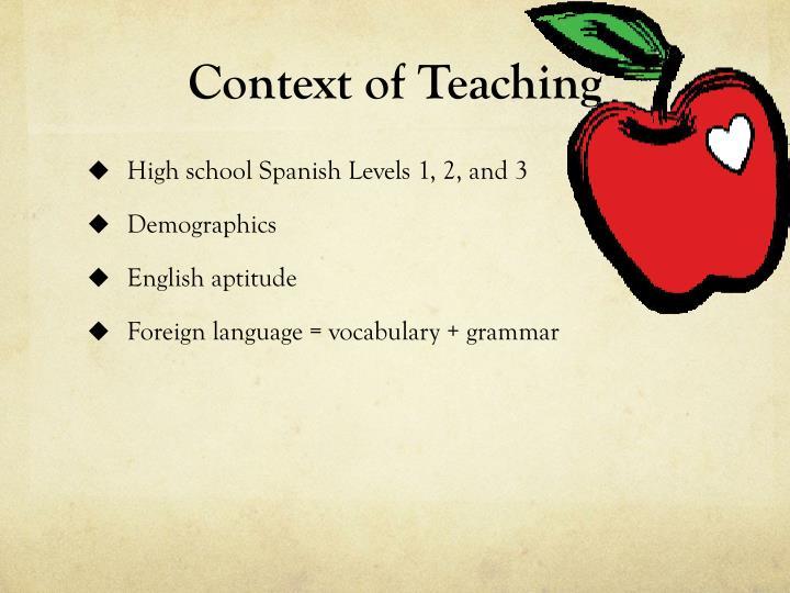 Context of teaching