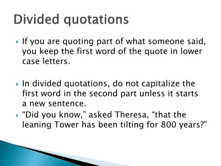 Divided quotations