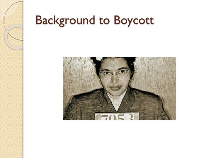 Background to boycott