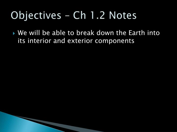 Objectives – Ch 1.2 Notes