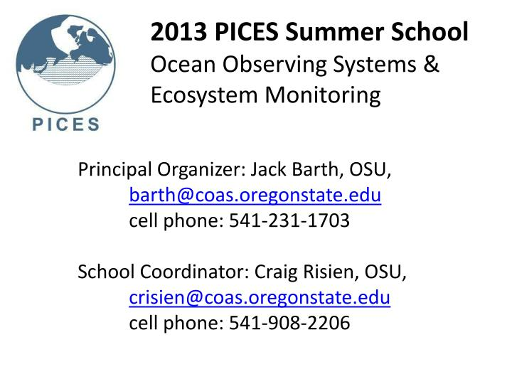 2013 pices summer school ocean observing systems ecosystem monitoring1