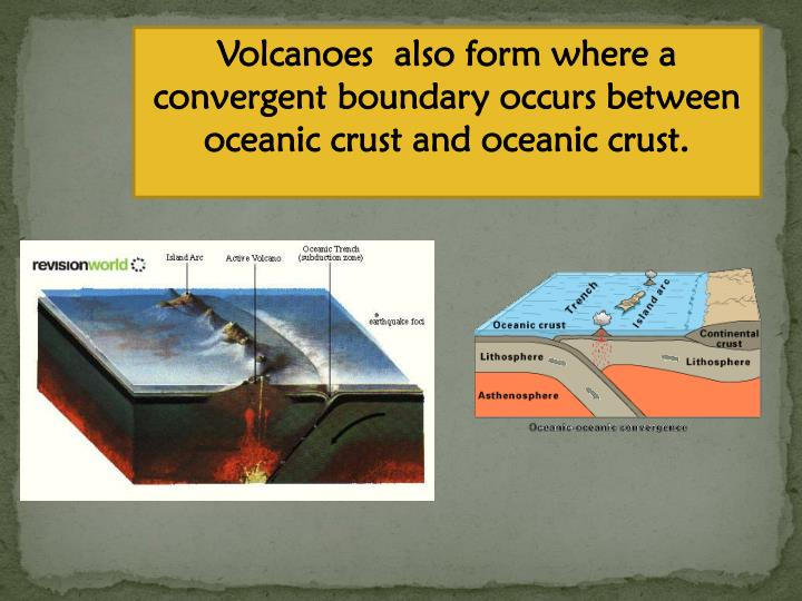Volcanoes  also form where a convergent boundary occurs between oceanic crust and oceanic crust.