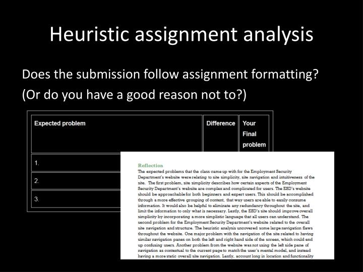 heuristic assignment analysis n.