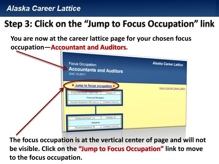 "Step 3: Click on the ""Jump to Focus Occupation"" link"